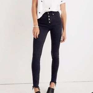 "Madewell 9""  high rise skinny button front"